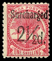 Lot 4596:1898-1899 Surcharges SG #86 2½d on 1/- dull rose-carmine in black.