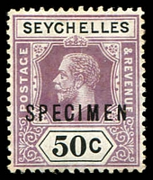 Lot 27222:1917-22 KGV Wmk MCA SG #92s 50c ovpt 'SPECIMEN', couple of lightly toned perfs