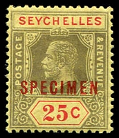 Lot 4607:1917-22 KGV Wmk MCA SG #89s 25c ovpt 'SPECIMEN' in red.