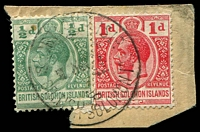 Lot 4149:1914-23 'POSTAGE REVENUE' Wmk Crown/CA ½d green & 1d carmine-red, on piece with 1924 Shortland Islands cancel