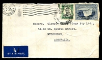 Lot 28420:1948 (Dec 20) use of 3d Victoria Falls & 1/- KGVI on air cover to Melbourne.