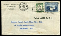 Lot 28421:1949 (May 4) use of 3d Victoria Falls & 1/- KGVI on air cover to Melbourne.
