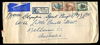 Lot 4176:1948 (Jan 8) use of 4d, 2/6d & 5/- on reg air cover to Melbourne.