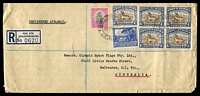 Lot 4582 [1 of 2]:1948 (Jan 8) use of 1d, 3d & 1/- x5 (incl block of 4) on reg air cover to Melbourne, small faults.