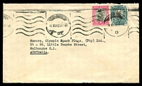 Lot 4353:1949 (Mar 30) use of ½d & 1d on cover to Melbourne.