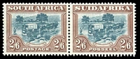 Lot 4646:1930-45 'SUIDAFRIKA' One Word SG #49 2/6d blue-green & brown pair, Cat £120.