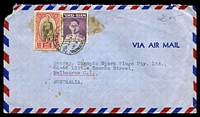Lot 28816:1948 (Aug 21) use of 2b Ban Pa'im Palace & 5s King Bhumibol on air cover to Melbourne, minor faults.