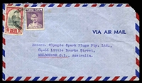 Lot 28815:1948 (Jul 13) use of 2b Ban Pa'im Palace & 5s King Bhumibol on air cover to Melbourne, minor faults.