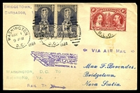 Lot 4769 [1 of 2]:1928 first flight New York Atlanta route from Washington to Richmond Va on re-used cover from Barbados to Nova Scotia, 5c Ericson pair cancelled with 'WASHINGTON/MAY 1/9PM/D.C. - 1928' (A1), 'RICHMOND/MAY2/1230AM/1928/VA.' (A1) machine arrival, 1923 TB Christmas seal pair sealing flap.