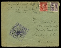 Lot 26118:1918(C.) use of 3c purple & 2c red, cancelled with poor US ARMY PO No 2 of JUL 8 with year missing on plain cover to London, England, with double-boxed 'PASSED BY/BASE CENSOR/A.E.F./[eagle]/* 3 *' (B1) on top of additional censor handstamp, some edge wear.