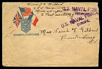 Lot 4777:1919(C) Knights of Columbus cover from sailor on USS Penguin (mine sweeper #33) to Ohio, 'U.S. NAVAL FORCE[S]