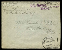 Lot 26119:1919 cover from sailor on USS Penguin (mine sweeper #33) to Ohio, 'U.S. NAVAL FORCES