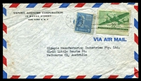Lot 4762:1949 (Feb) use of 5c Prexie & 20c Air on air cover to Melbourne, small faults.