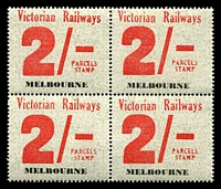 Lot 1656:1958-66 Eleventh Series 2/- mint corner block of 4 from Melbourne, rare multiple.