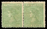 Lot 1820:1867-81 Laureates Wmk V/Crown Perf 13 SG #131b 1d yellow-green pair, Cat £170+, typical brown gum and associated staining.