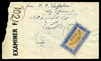 "Lot 29463 [2 of 2]:1943(C.) use of 6b, cancelled with light bilingual 'TAAZ' (A1- ) on cover to Rome, endorsed ""Via Aden"", opened roughly at left and part of censor label torn away, Aden censor label tied with F/'102'-in-circle."