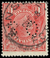 Lot 5534:Ainslie (1): - 27mm 'AINSLIE/5DE28/F.C.T' on 1½d red KGV. [A copy realised $260 in #92 and a cover realised $1,300 in #91.]  Renamed from Canberra PO 2/6/1913; renamed Canberra City PO c.1929.