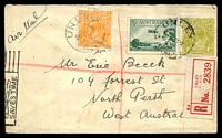 "Lot 4564 [1 of 2]:1929 Adelaide - Perth 3d green Airmail & KGV ½d & 4d olive SM Perf 14 (cat $350 on cover) on plain registered cover Unley to North Perth, endorsed ""Air Mail""."