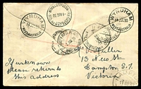 Lot 610 [2 of 2]:1930 Derby - Wyndham AAMC #164 Registered cover with adhesives tied by Wyndham arrival on back.
