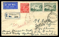 Lot 5194 [1 of 2]:1930 Derby - Wyndham AAMC #164 Registered cover with adhesives tied by Wyndham arrival on back.
