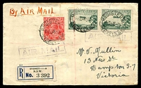 Lot 4757 [1 of 2]:1930 Sydney - Melbourne AAMC #162 with 1½d red KGV & 3d Airmail x2 on registered cover, minor faults.