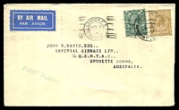 Lot 1130:1931 England - Australia AAMC #187 cover with English adhesives tied by London canc 3AP/31 and backstamped Brisbane 28APR/1931, addressed to Brunette Downs.