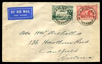 Lot 1132 [1 of 2]:1931 Hobart - Melbourne AAMC #197 franked with 3d green Airmail & 2d red Kingsford-Smith, cancelled with 'WARATAH/29AP31/TASMANIA.' (A1) machine & bearing 'VICTORIA-TASMANIA AIR MAIL/FIRST OFFICIAL FLIGHT/MAY/1931/[Tasmania]/HOBART·LAUNCESTON·MELBOURNE/COMMONWEALTH OF AUSTRALIA' (A1-) cachet in blue.