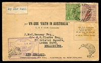 Lot 1017:1934 Australia - New Zealand AAMC #369 Faith in Australia flight with 1d KGV & 6d Kooka tied to special illustrated cover by 'WALLAROO/730A 4AP34' and backstamped Wellington 12AP34, home-made Air Mail vignette.
