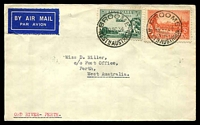 "Lot 616:1934 Daly Waters - Perth - Adelaide AAMC #429a plain cover with adhesives tied by 'BROOME/10OC34/WESTNAUSTRALIA' endorsed ""ORD RIVER-PERTH""."
