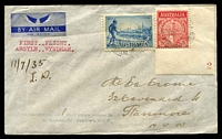 "Lot 876 [1 of 2]:1935 Wyndham - Sydney AAMC #523a cover sent from Wyndham to Sydney with adhesives cancelled 3OC1935, Daly Waters 9OC35 and Melbourne & Sydney both 12OC35, with manuscript ""11/7/35 LW"" on front, scarce intermediate on last flight of Australian Transcontinental Airways."