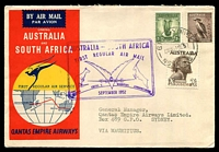 Lot 4803 [1 of 2]:1952 Australia - Mauritius AAMC #1308a illustrated Qantas cover to Mauritius with adhesives tied by Sydney cds 1SE52, cachet in violet at left and backstamped Port Louis 3SP52 Intermediate.