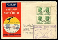Lot 879 [1 of 2]:1952 Australia - South Africa AAMC #1307 illustrated Qantas cover with adhesives tied by Sydney cds 1SE52 with cachet in violet at right.