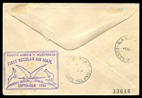 Lot 646 [2 of 2]:1952 South Africa - Cocos Islands AAMC #1308a illustrated Qantas cover with adhesives tied by Johannesburg cds 6IX52 and backstamped 'R.A.A.F. P.O./8SE52/COCOS-ISLANDS' Intermediate.