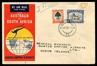 Lot 646 [1 of 2]:1952 South Africa - Cocos Islands AAMC #1308a illustrated Qantas cover with adhesives tied by Johannesburg cds 6IX52 and backstamped 'R.A.A.F. P.O./8SE52/COCOS-ISLANDS' Intermediate.