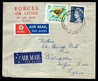 Lot 671:1969 (Aug 26) philatelic use of British? 'FORCES AIR LETTER' with 5c blue & 5c Thornbill cancelled with Aust FPO 3, sent from Aust & NZ Red Cross Soc, 1 Aust Field Hosp SVN to England