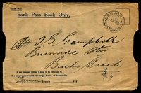 Lot 5251:1933 (Jul 4) Bank Pass Book envelope, stampless use from Darwin to Brock's Creek, NT. Rare.