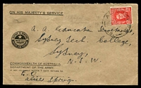 Lot 1038:A.I.F. Army P.O. 'A.I.F. ARMY P.O./1MY44/49.' (Alice Springs, NT) on 2½d red KGVI on cover to Sydney.