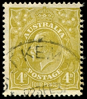 Lot 556:4d Olive - BW #117(4)l [4R48] Colour flaw on kangaroo's nose, pmk partially covers flaw, Cat $20.
