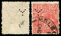 Lot 2263:2d Red Die I - perf 'Y' #Y.12 of EL Yencken & Co, Melbourne