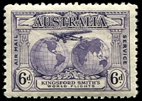 Lot 574:1931 Kingsford Smith BW #143d 6d dull violet with Re-entry to T of AUSTRALIA etc [P1/45], Cat $75.