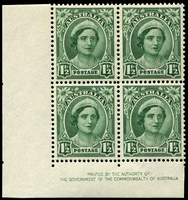 Lot 568:1942-48 1½d Green QE No Wmk BW #227zh left corner imprint block of of 4 with Re-entries on 9/1, 10/1 & 10/2, very light blue marks on selvedge, Cat $125.