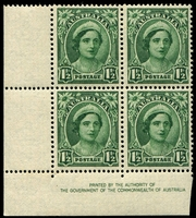 Lot 2871:1942-48 1½d Green QE Wmk CofA BW #227zf left corner imprint block of of 4 with Re-entries on 9/1, 10/1 & 10/2 (not so apparent on the last two), Cat $75.