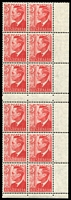 Lot 751:1951 3d Scarlet KGVI BW #251d booklet plate vertical block of 12 (two panes) with Weak entry to bottom tablet [C/2/15], Cat $30+, hinged on selvedge.