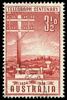 Lot 754:1954 Telegraph Centenary BW #311e Shading absent right of key [ShB? 3/5], Cat $20.