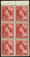 Lot 392:1959-66 QEII Definitives BW #296k 3½d carmine-red booklet pane with White crown at top left, Cat $20+.