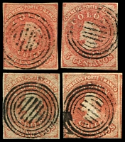 Lot 3459:1855-65 Santiago Printings Wmk Sloping 5 SG #19 5c red 4-margins x4, Cat £27+, all cancelled with 6-bar in circles.
