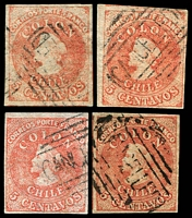 Lot 17800:1855-65 Santiago Printings Wmk Sloping 5 SG #19 5c red 4-margins x4 with wmk upright, inverted & reversed inverted x2, Cat £26+, all cancelled with 'CANCELLED'.