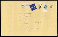 Lot 3471:1977 (Jun 6) use of 50c & 40c Birds & 3c Flowers on large registered commercial air cover from Suva to Sydney, slightly soiled, crease not affecting stamps.