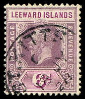 Lot 4091:1921-29 KGV Key Plates Die II SG #72 6d dull purple & bright purple, Cat £42, with 1928 St Kitts cancel.