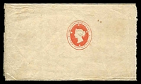 Lot 5250:1864 1d Rose Embossed HG #E1a on unwatermaked wove paper, separated by crude rouletting.